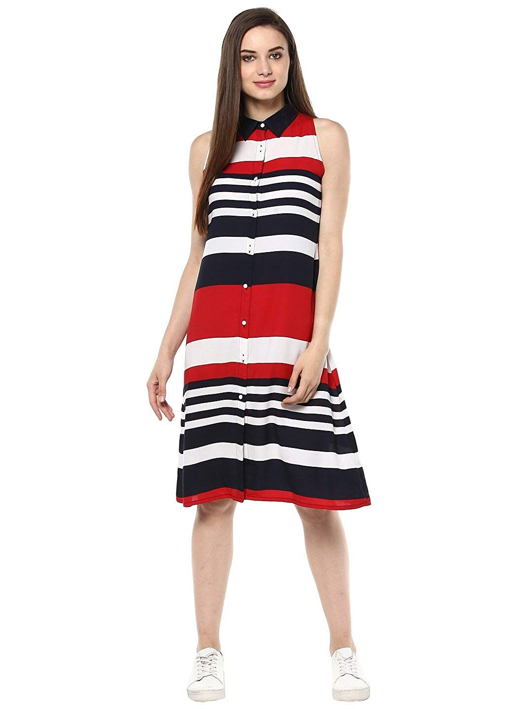 3208redstripedrs Stylesstone Women S Red And Navy Blue Stripe Dress Amazon In Clothing Ac Womens Dresses Womens Striped Dresses Western Dresses For Women [ 1440 x 1080 Pixel ]