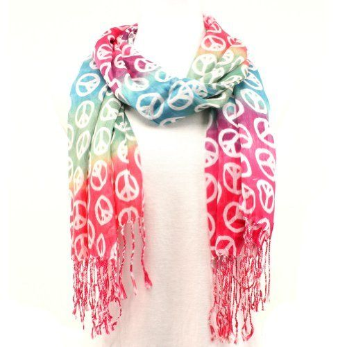 Peace Sign Summer Light Scarf Shawl Wrap Tricolor Red SK ...