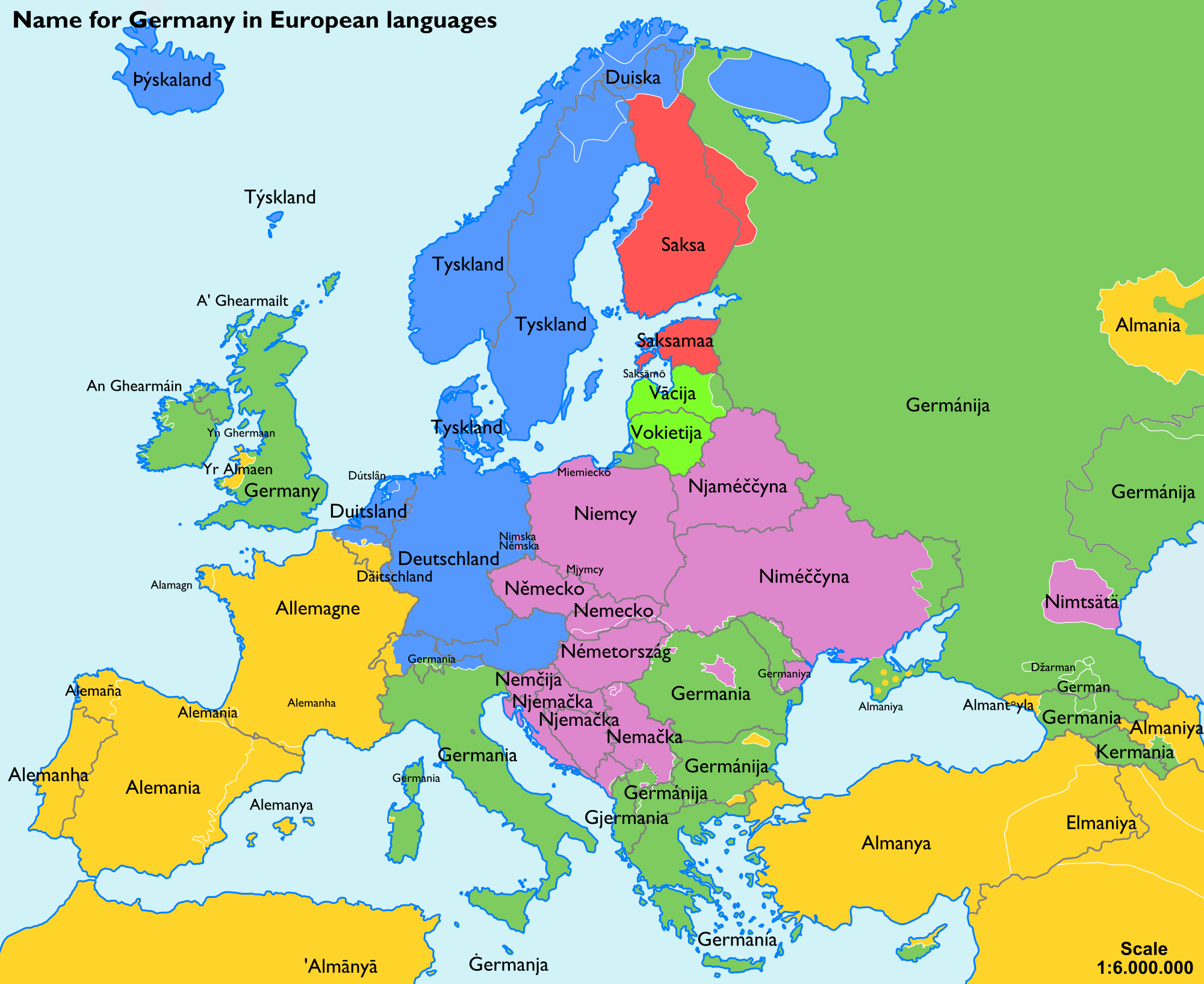 "The name for ""Germany"" in various European languages ..."