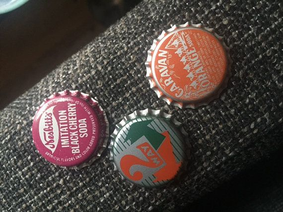3 Retro 1960s/70s Soda Pop Bottle Caps by TuckedAwayAntiques