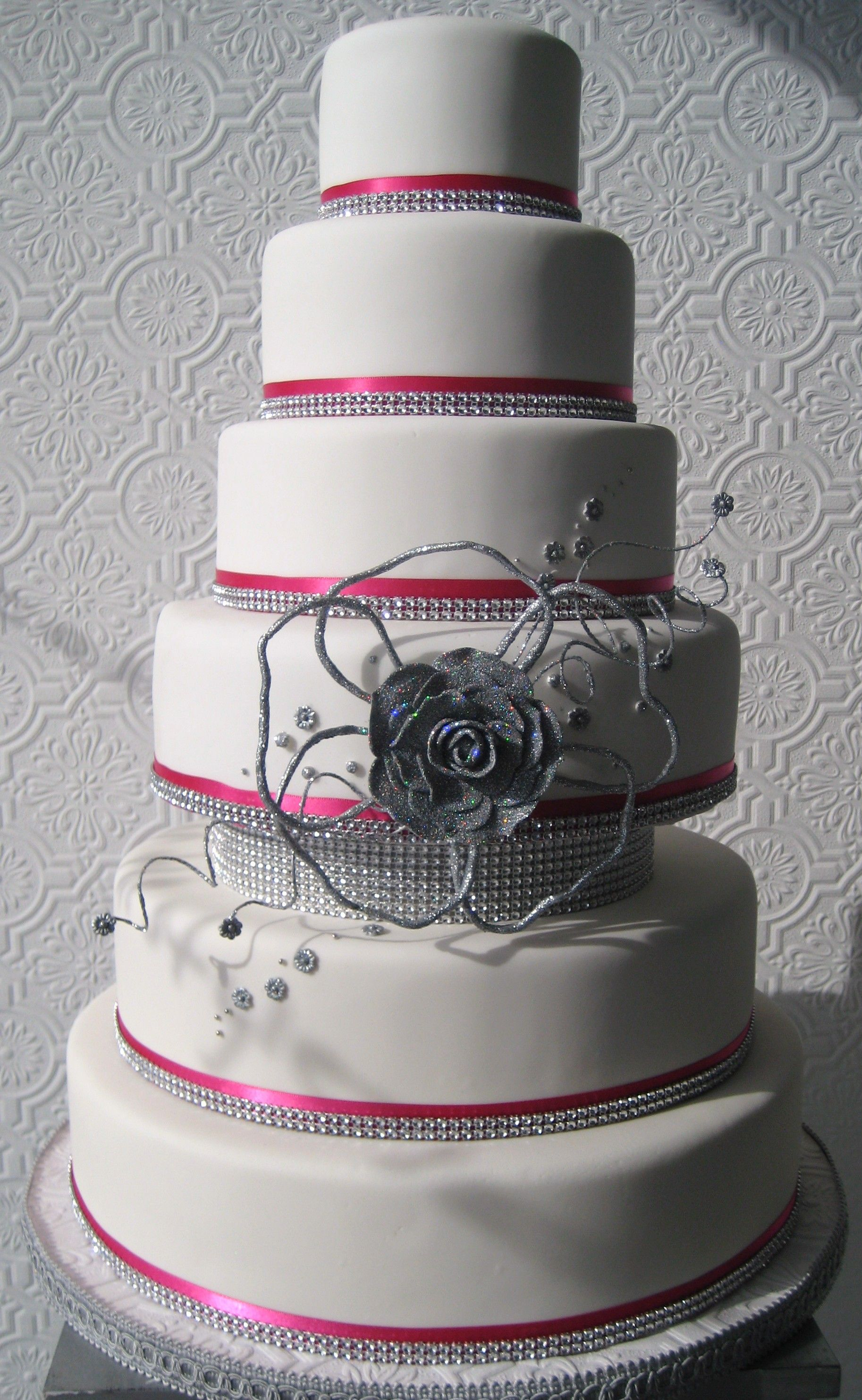 Pink and silver wedding cake all about weddings pinterest