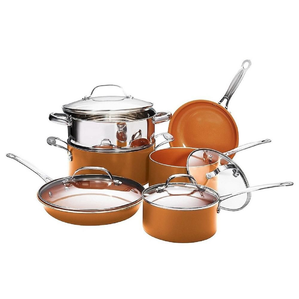 10 Piece Copper Non Stick Ti Ceramic Round Cookware Set With Lids