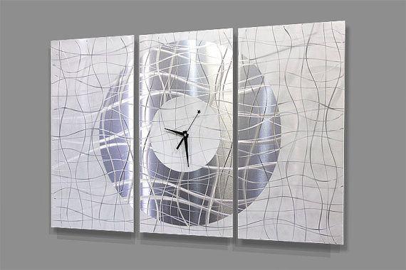 Statements2000 Metal Wall Clock Art Modern White Silver Painting Decor Jon Allen