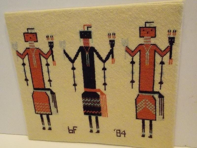 Navajo Yei Woven Rug Figural Blanket Native American Textile Weaving On Wood Ebay