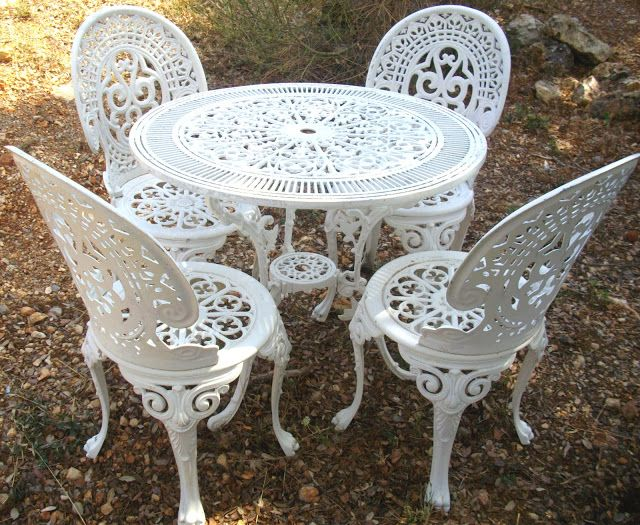 Salon De Jardin Rocaille Blanc Immitation Fonte No Fer Forge