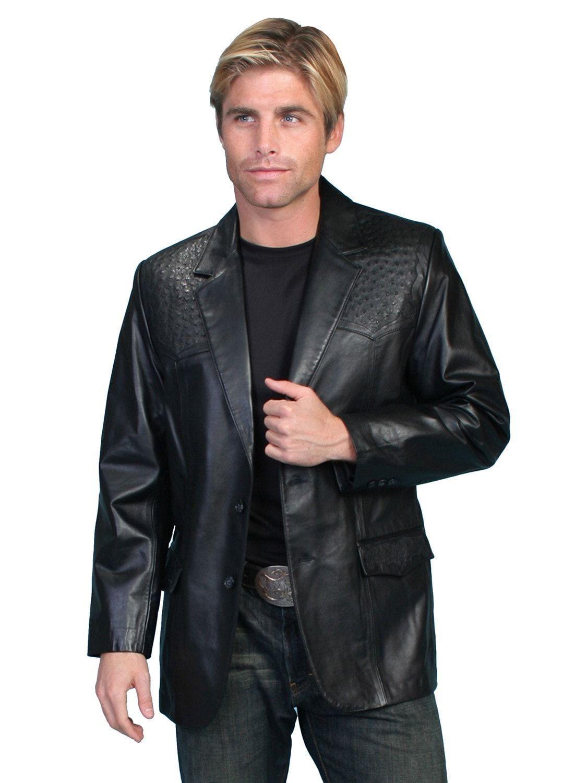 Scully Leather Mens Black Lambskin Ostrich Trim Western