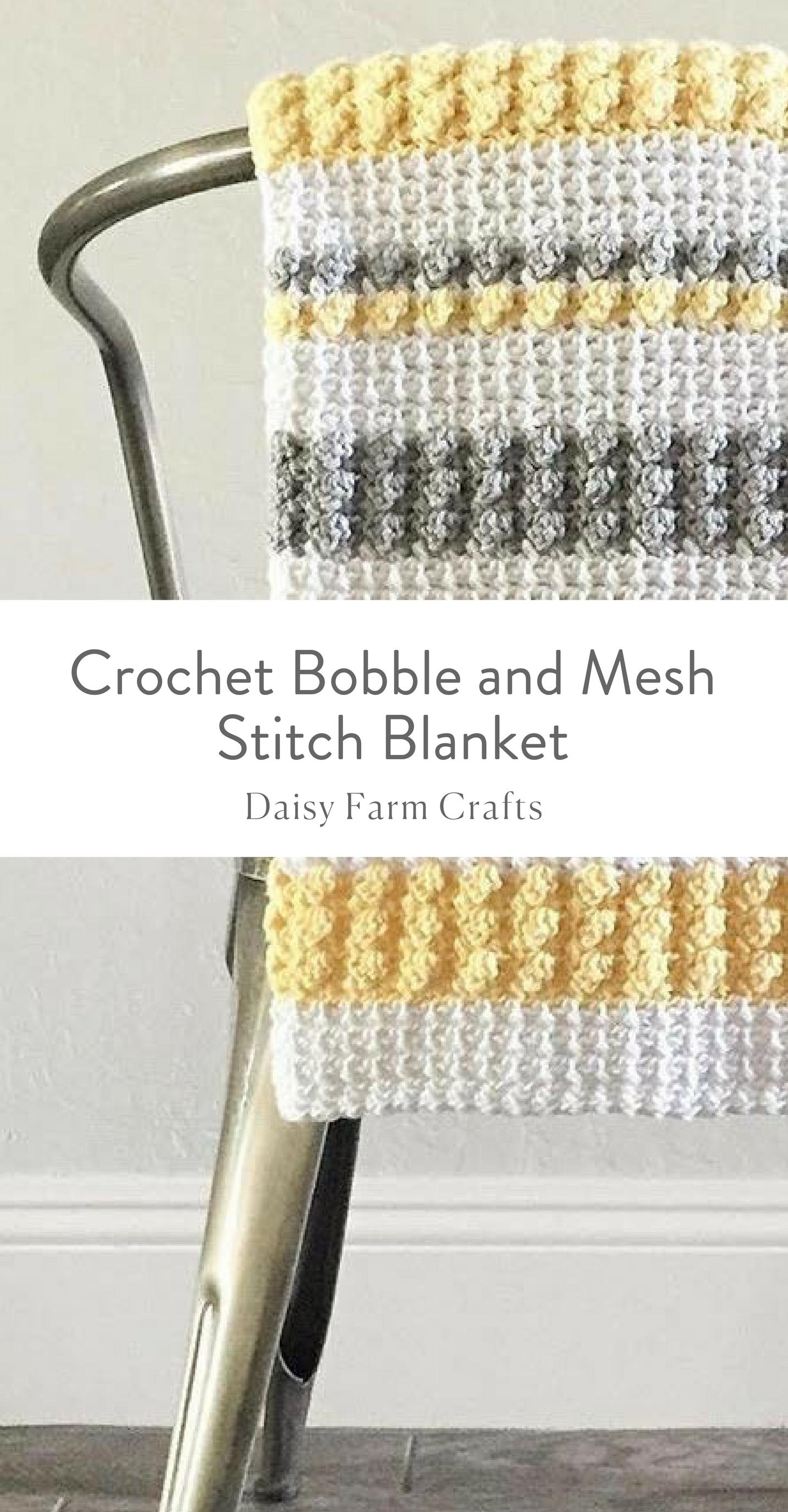 Free Pattern - Crochet Bobble and Mesh Stitch Blanket   cROCHET ...