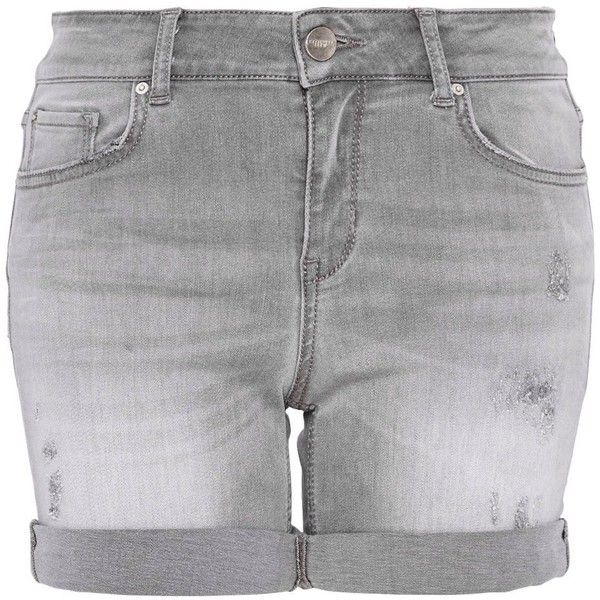 35989797 Hallhuber Sparkly denim shorts (£59) ❤ liked on Polyvore featuring shorts,  bottoms, grey, women, ripped jean shorts, torn shorts, short jean shorts,  ...