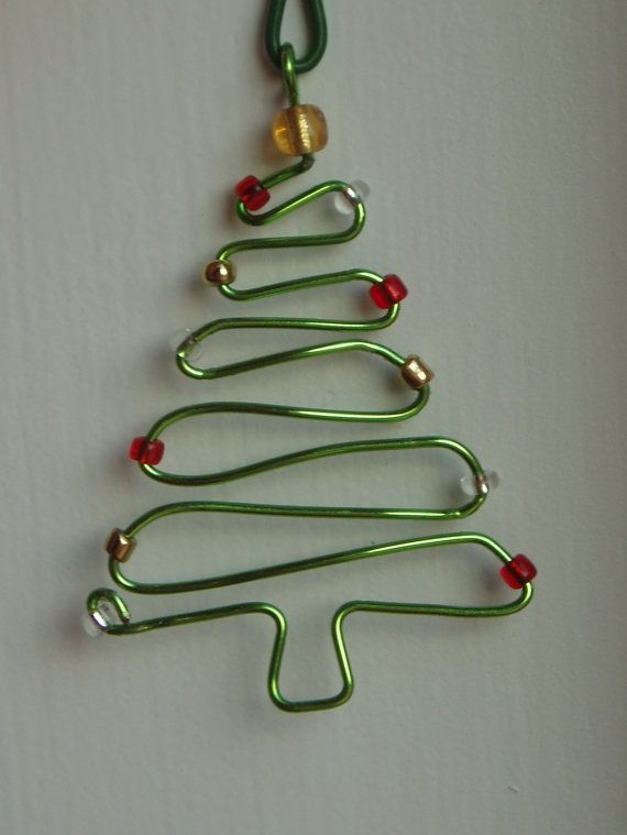 Beautiful Handmade Wire Christmas Tree Ornament   I Want One In Silver With Red Beads.