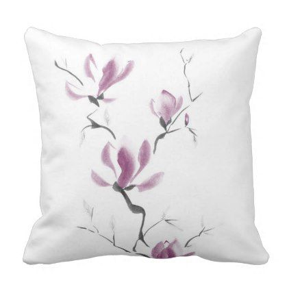 White Throw Pillow artistic purple floral design Floral designs