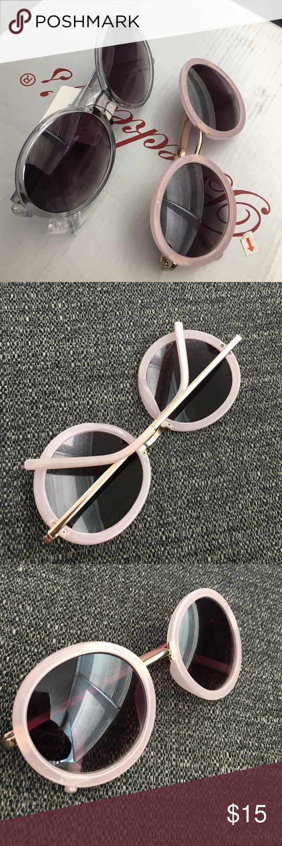 ✖️✖️Not for Sale✖️✖️ Pink Circle frame with gold tone arms or Grey circle frame with plastic arms. Bundled Accessories Sunglasses
