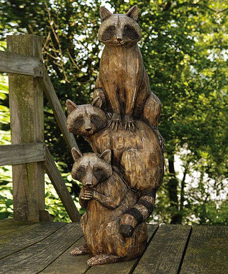 Raccoon Totem Statue Zulily Waschbar Tiere Garten Ideen
