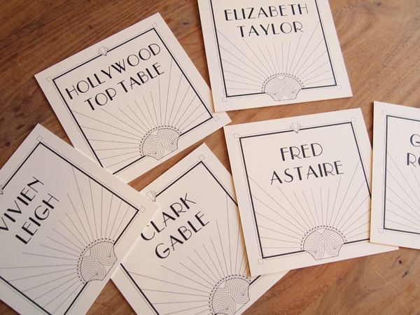 Simple and elegant art deco table names