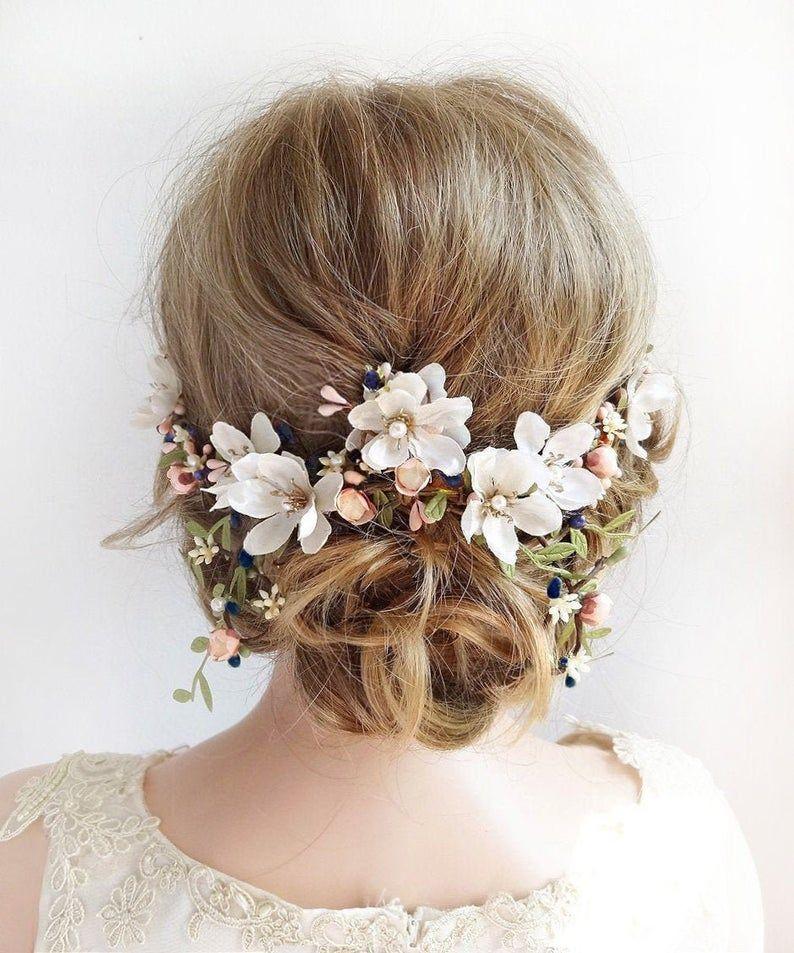 tocado de novia floral, tocado floral de la boda, pieza de pelo de la boda, boda del tocado floral, pelo rubor, accesorios del cabello de la boda de la marina