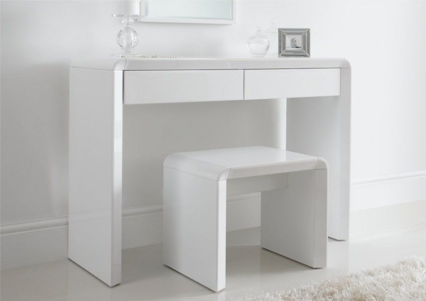 Ice high gloss dressing table only white shel marko for White dressing table with drawers