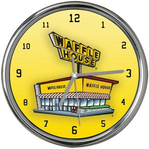 Waffle House Chrome Wall Clock Open All Night Southern Breakfast