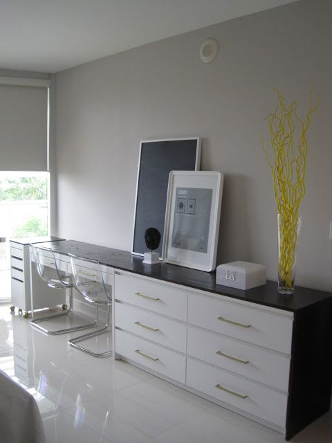 Confetti And Stripes Ikea Hack Sneak Peak Before After Desk Dresser Combo Obviously Need To Go Smaller But Love Idea
