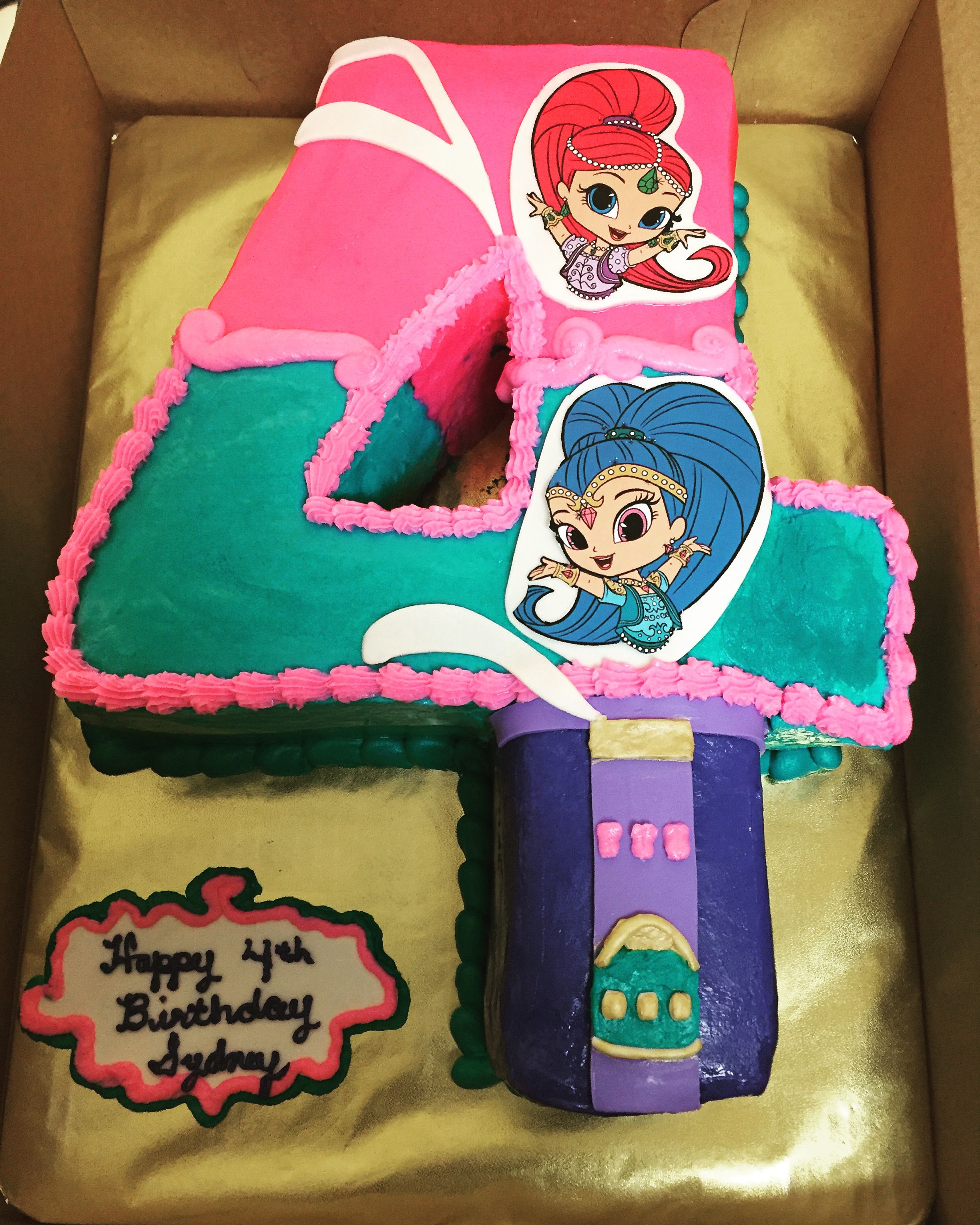 Enjoyable Shimmer And Shine 4Th Birthday Cake With Images 4Th Birthday Funny Birthday Cards Online Sheoxdamsfinfo
