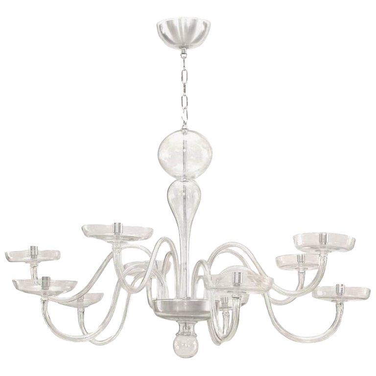 1930s Italian Murano Clear Glass Chandelier Glass Chandelier