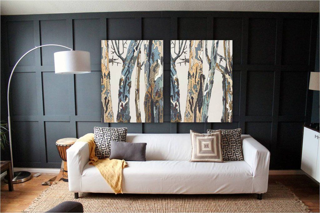 Extra Large Wall Art White Diptych Set Tree Trunks Oversized Canvas Artwork Print