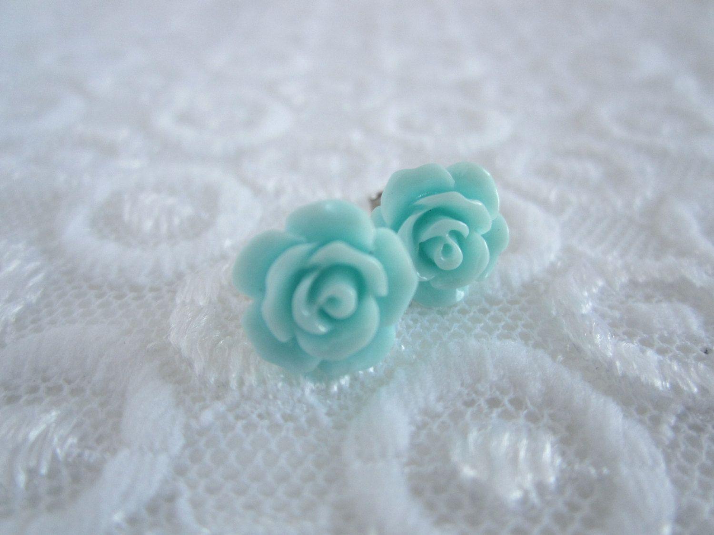 Petite rose stud earrings tiffany blue flower earrings dainty petite rose stud earrings tiffany blue flower earrings dainty post earrings bridesmaids jewelry izmirmasajfo