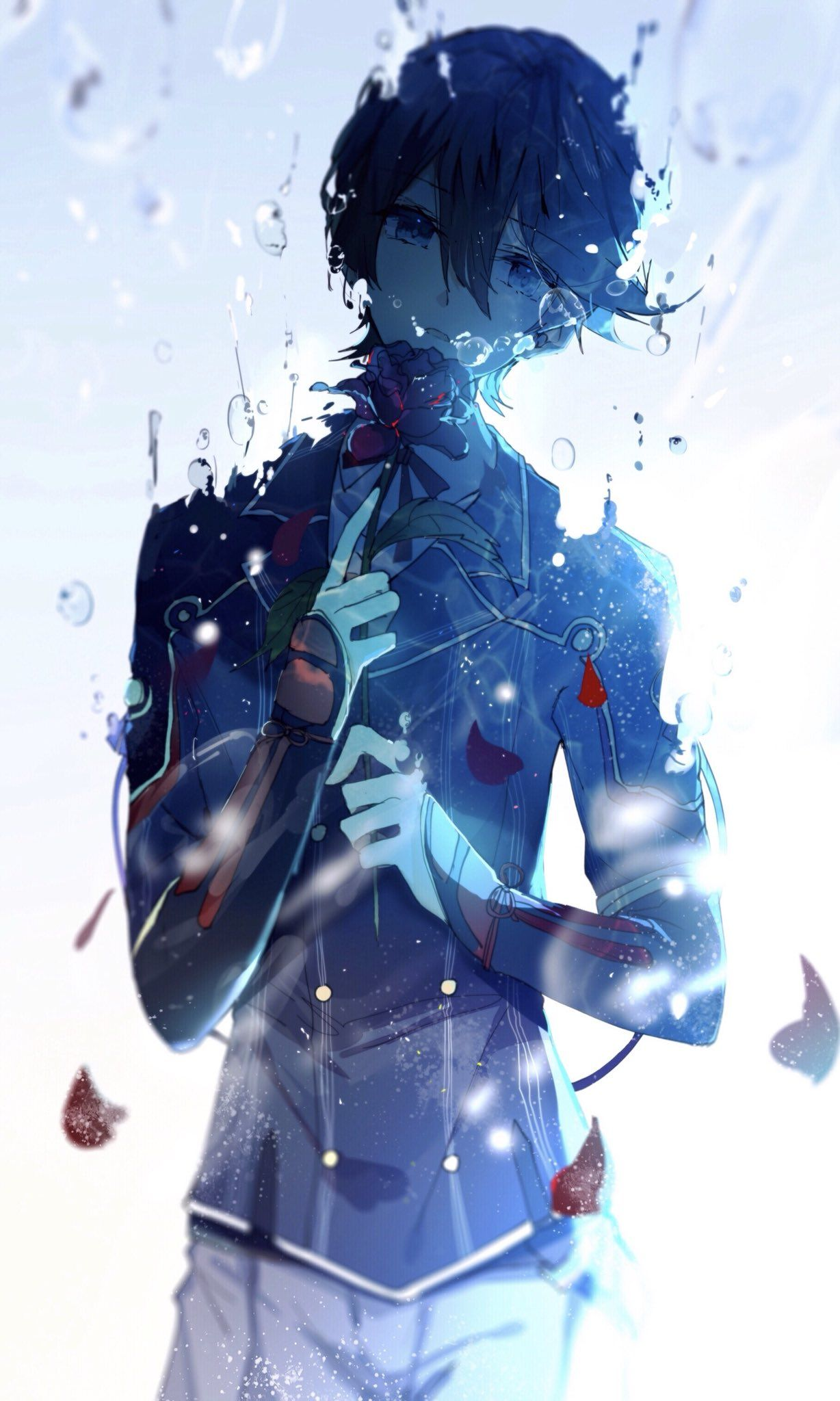 Anime guy blue epic anime art blue eyes water - Epic anime pics ...