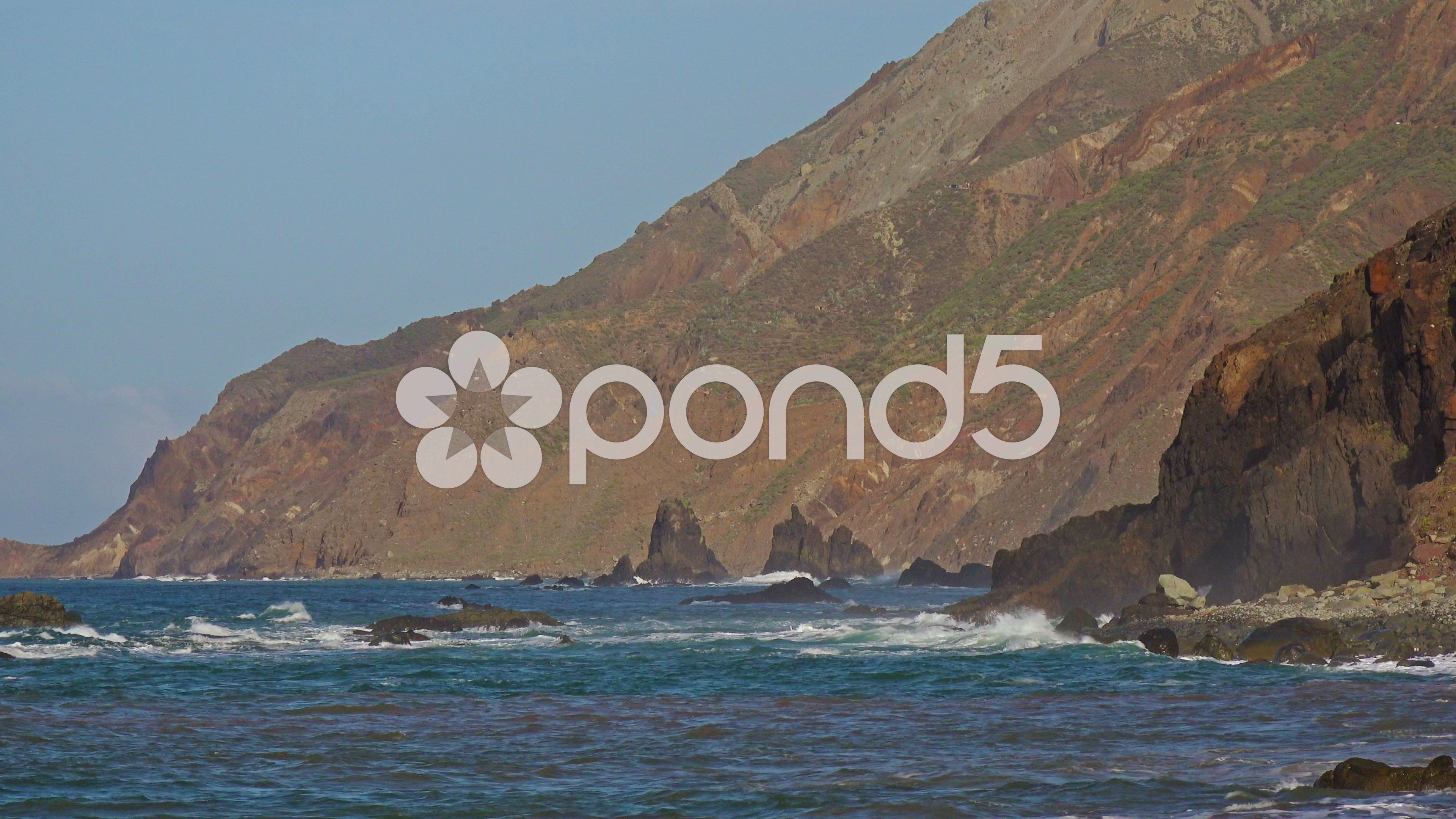 Nature Landscape Ocean Waves Rocky Coast Tenerife Canary Islands Stock Footage Waves Rocky Ocean Nature Tenerife Canary Islands Ocean
