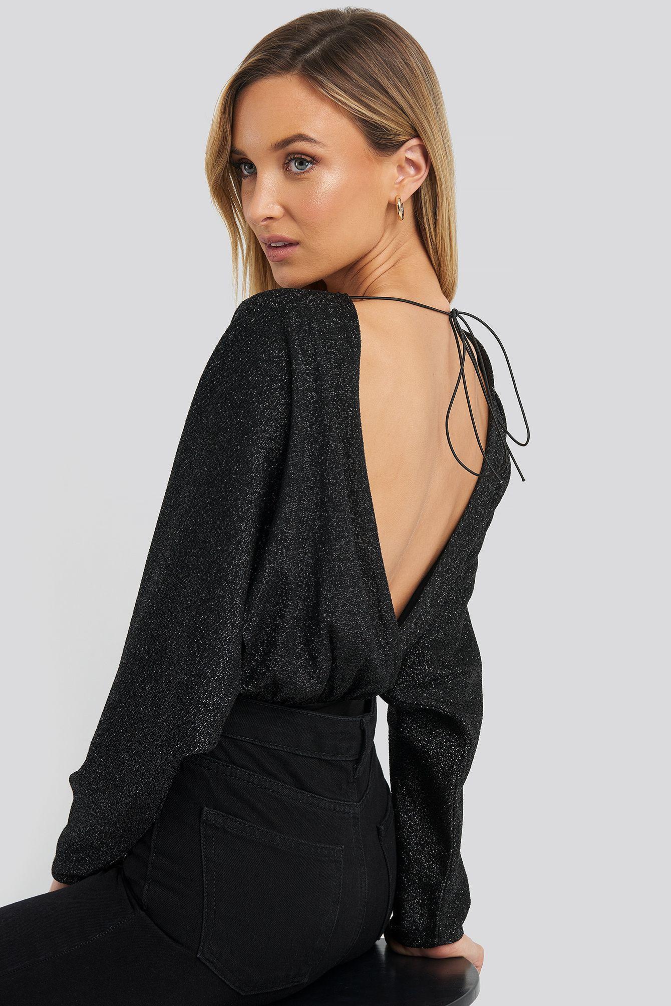 na-kd open back plunge neck lurex bodysuit - black