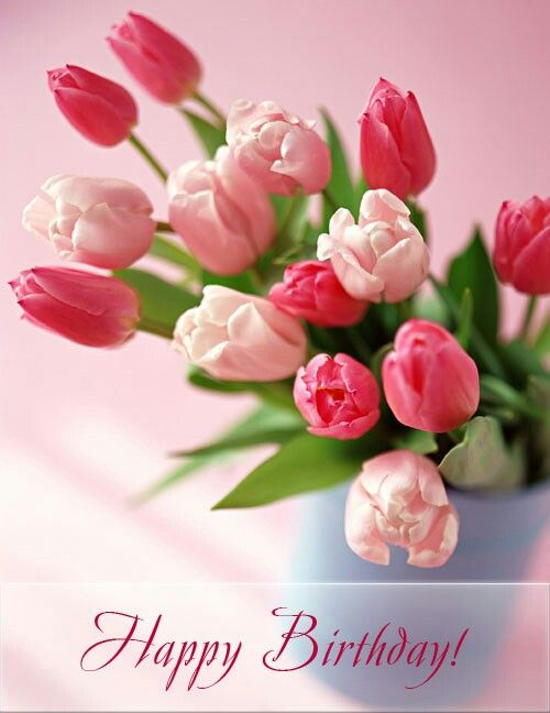 Pink Tulips Happy Birthday Flower Happy Birthday Greetings