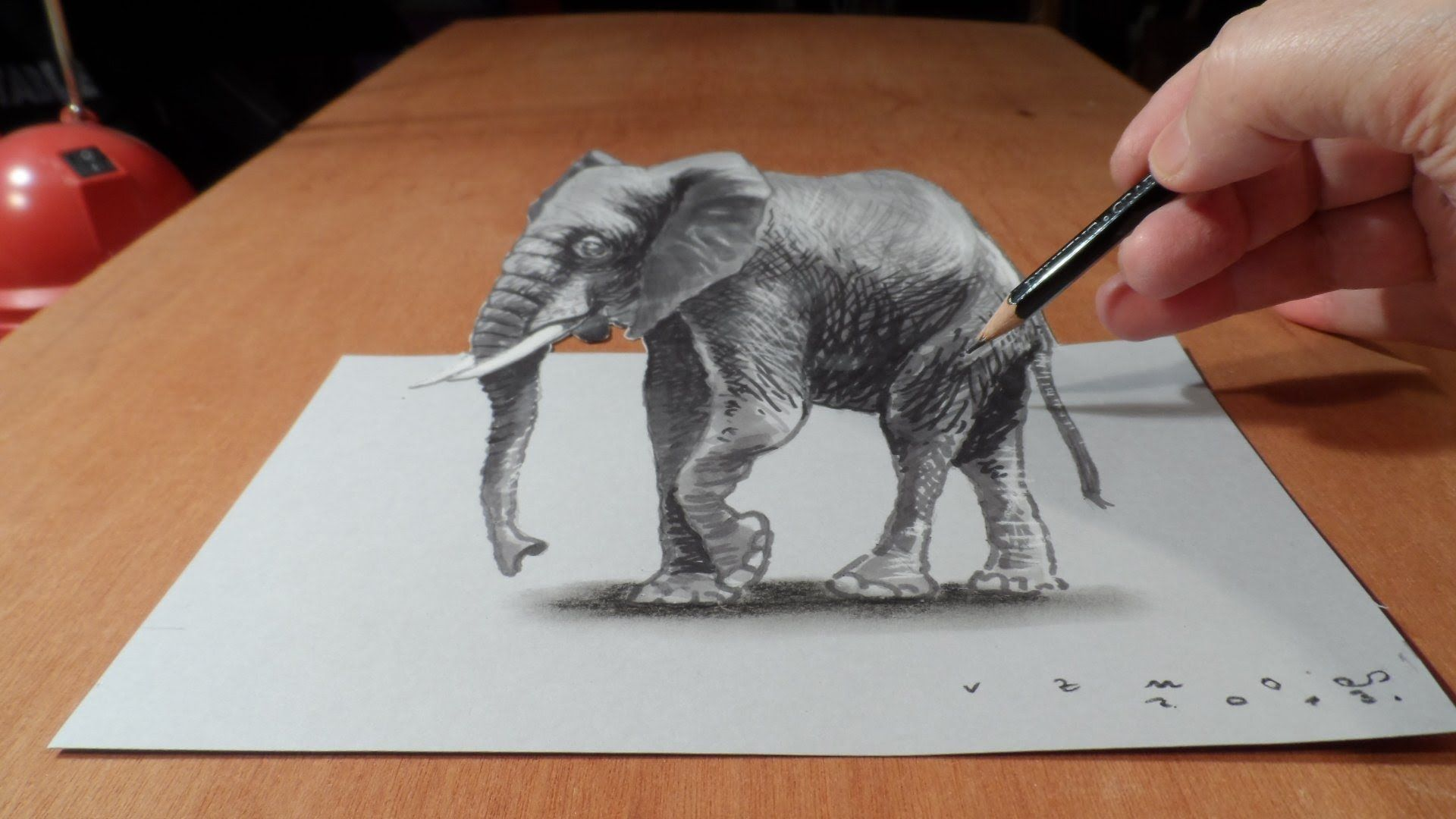 Trick Art On Paper Magic Realism How To Draw D Elephant - Anamorphic art looks real