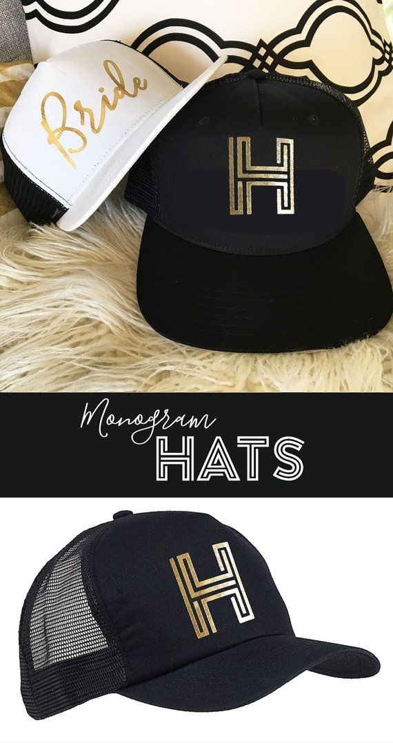 Monogram Hats for your Bridesmaid Gifts are make a stylish way for your  squad to travel in style! Metallic Gold Monogram Hats for the Bride    Bridesmaids by ... 399db9192241