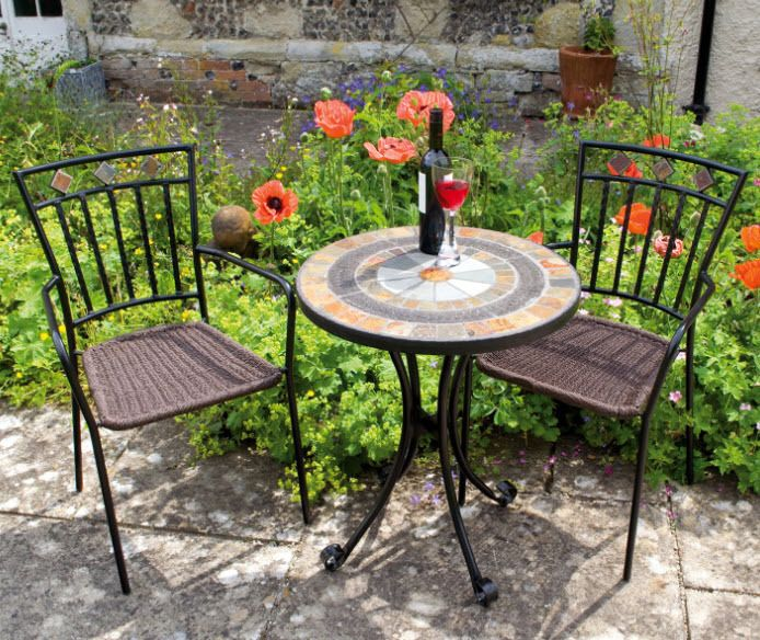 Bistro Set Three Piece Garden Furniture Chairs Patio Yard Table Outdoor  Chair