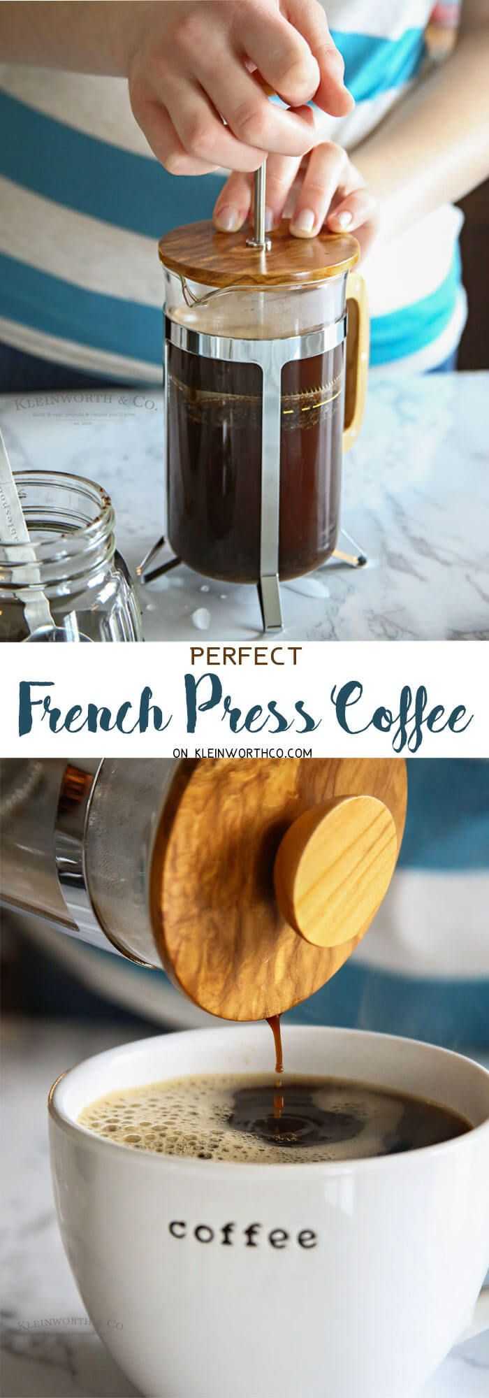Perfect French Press Coffee is simple & easy to make. This step-by-step tutorial with helpful tips & tricks for an amazing brew! via @KleinworthCo