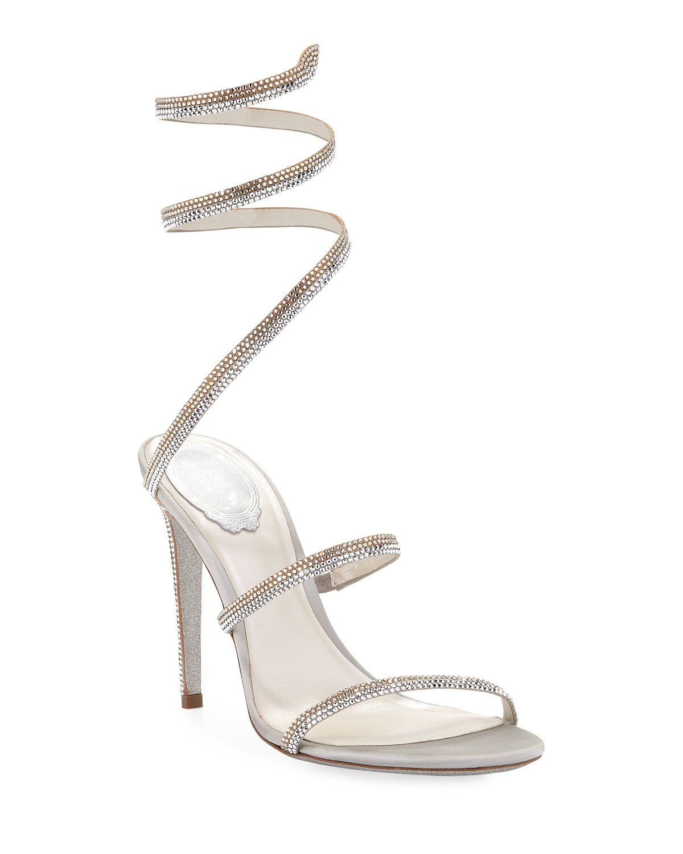 Rene Caovilla Snake Coil Crystal Sandals | Crystal sandals