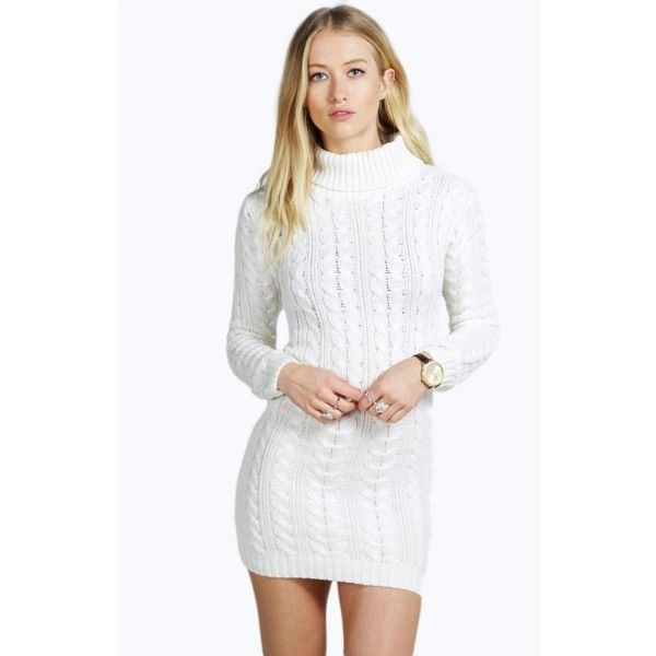2c38626c2e20 Boohoo Tiffany Cable Knit Roll Neck Jumper Dress ($30) ❤ liked on Polyvore  featuring cream and cable knitwear