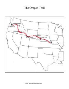 This Printable Oregon Trail Map Shows The Path Of The Travelers