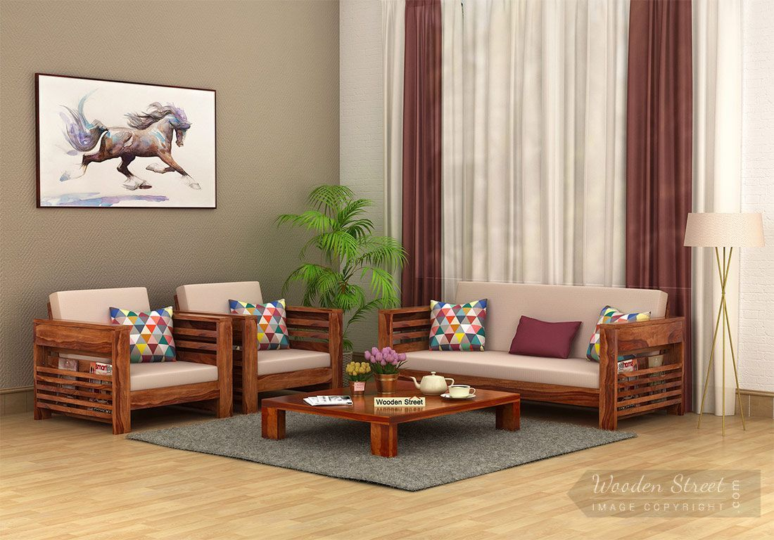 Buy Feltro Wooden Sofa Set Teak Finish Online In India Wo