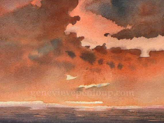 Peinture Aquarelle Originale Coucher De Soleil Abstrait Ciel Rouge