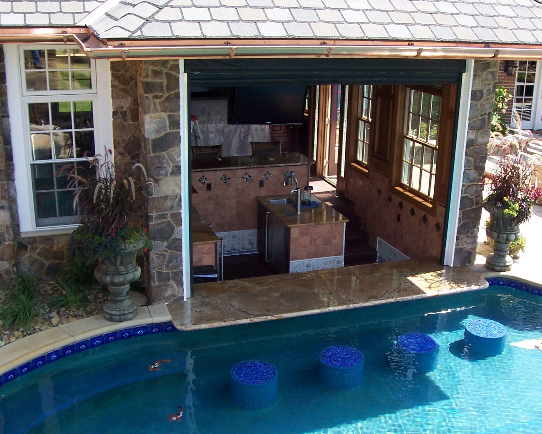 Swim up bar outdoor space pool side bar pool bar - Above ground pool bar ...