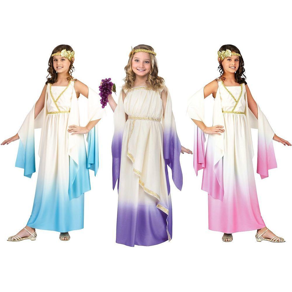 Girls Greek Goddess Costume Tween Kids Halloween Fancy Dress up Cosplay Party