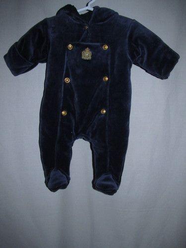 a63ae12be2a1 Ralph Lauren Polo Big Crest Navy Blue Velvet Snowsuit Baby Boy s 6 ...