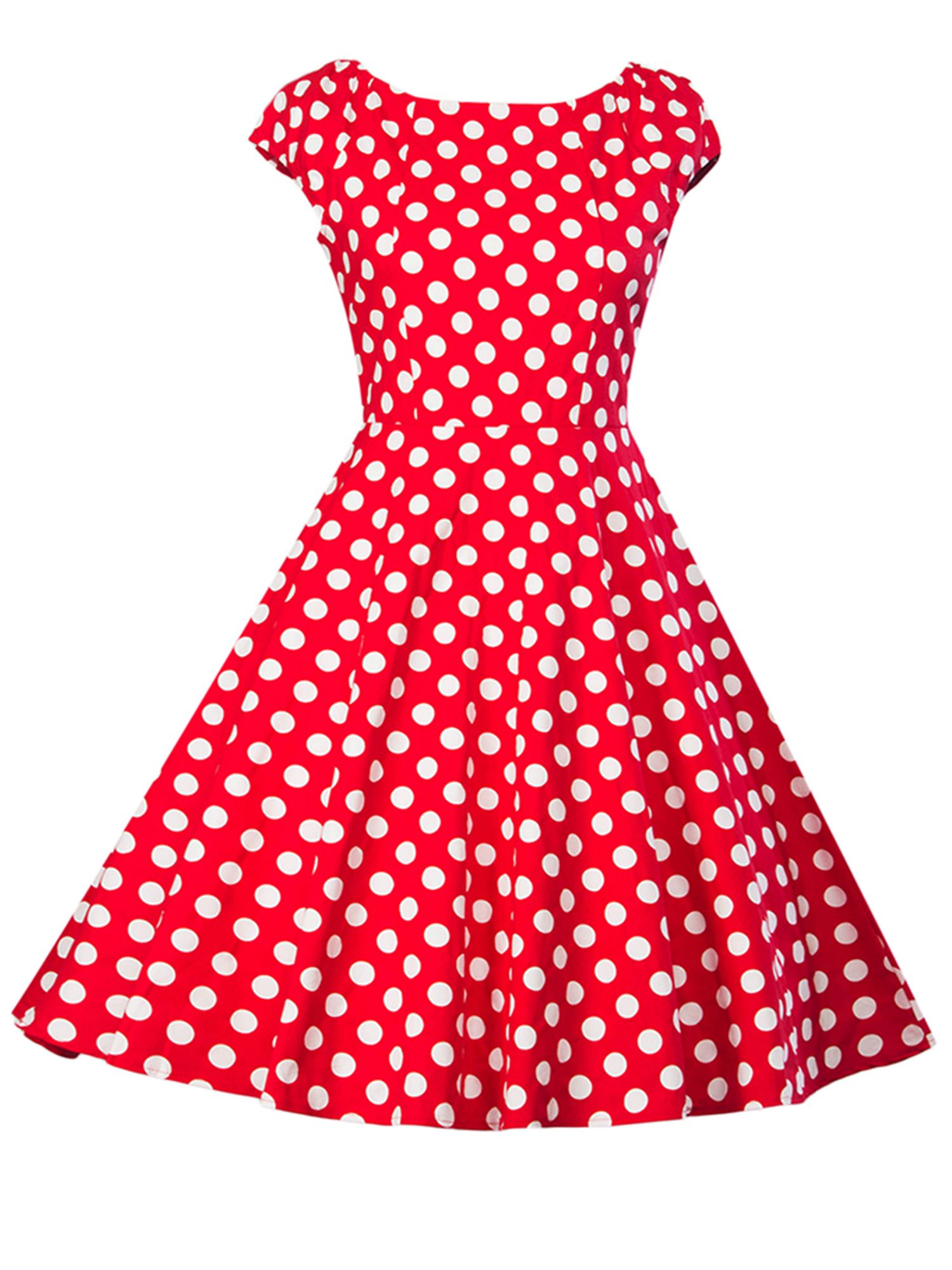 00348e240505 Women Vintage 1950s 60s Sleeveless Dress Retro Polka Dot Rockabilly Prom  Swing Pinup Casual Evening Cocktail Ball Gowns#Retro, #Dress, #Dot