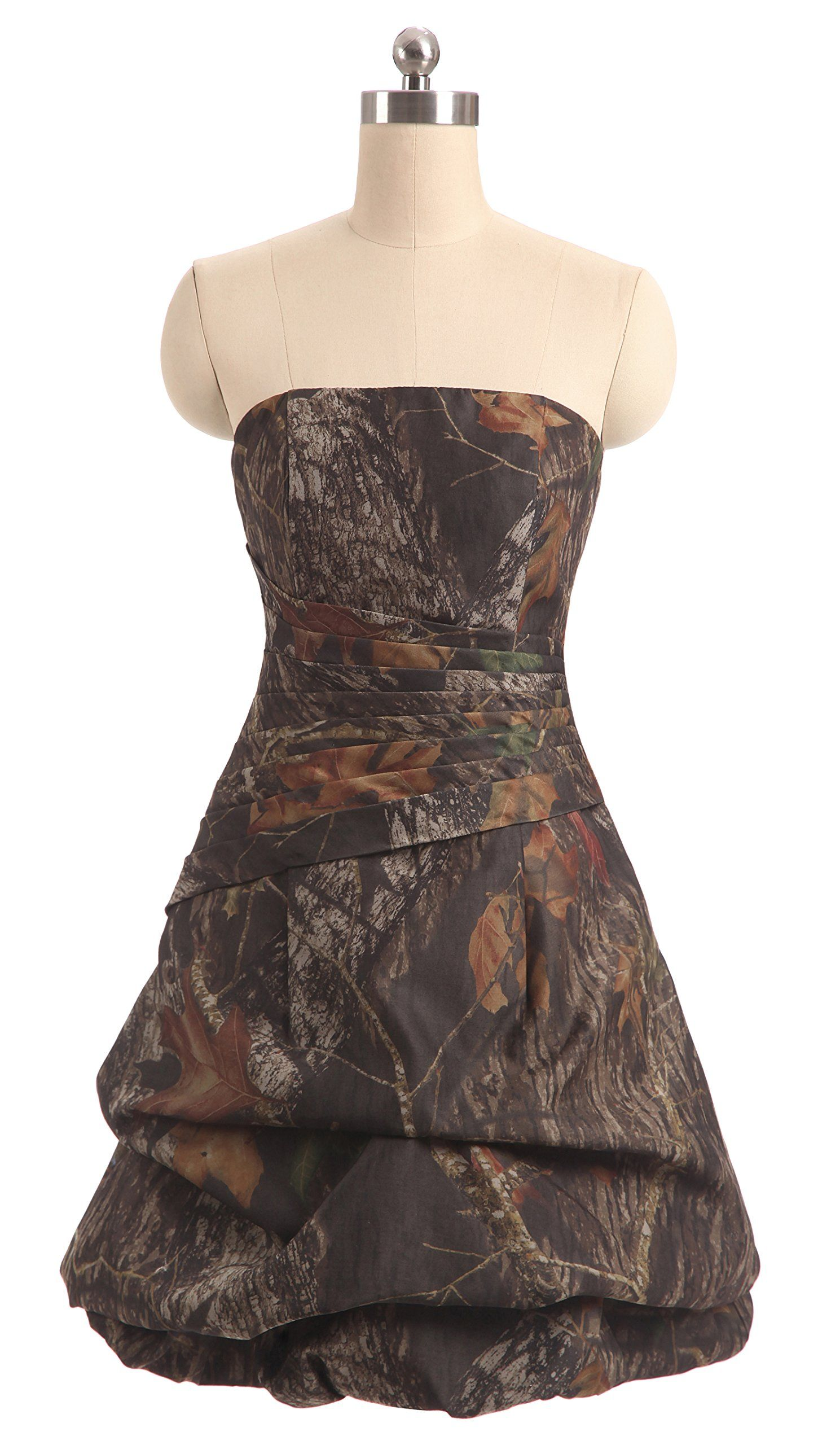 Snowskite womens strapless short pickup camo cocktail party prom