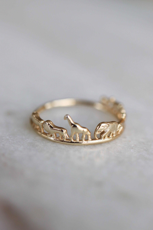 Photo of Animal Safari Ring, Dainty Gold Elephant Giraffe Lion Rhino Stacking Ring, African Safari Stacking Ring, Vegan Gift for Her