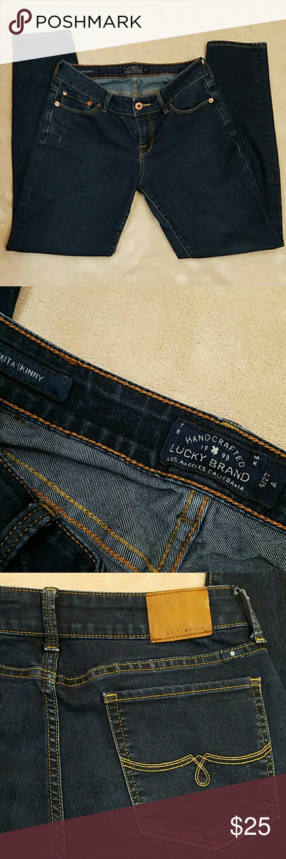 """Lucky Brand Jeans Lolita Skinny. Size 4/27 . Darker blue wash. Inseam is approx 28"""". Used a few times. Pants seem to have a seam flaw. Please note left leg seam turns outward (please see last picture). Cannot see worn inside boots. Fabric has some stretch to it. Make offer. Lucky Brand Jeans Skinny"""