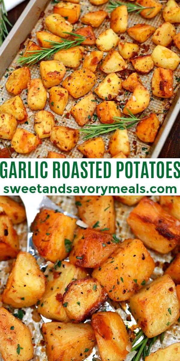 Garlic Roasted Potatoes Recipe [Video] - Sweet and