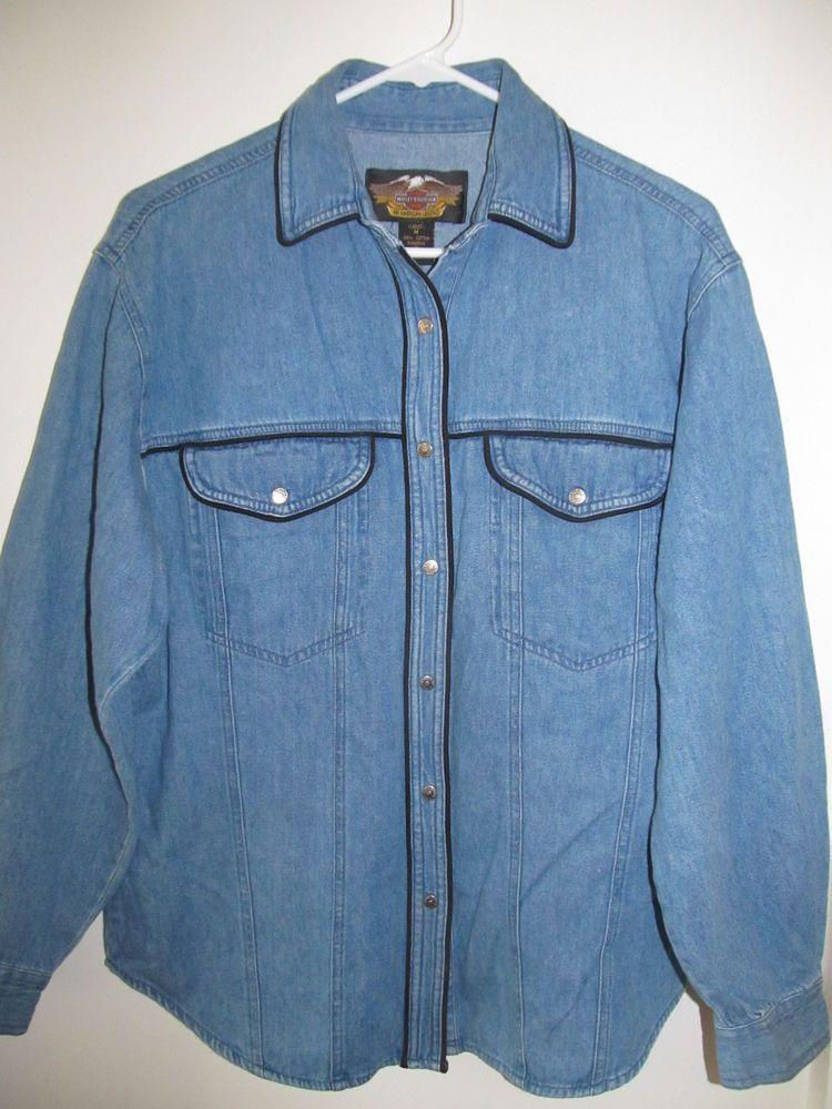 b546be04a06 HARLEY DAVIDSON Denim Jean Shirt Size M Black Piping Embroidered Star Logo   HarleyDavidson  ButtonDownShirt  Casual