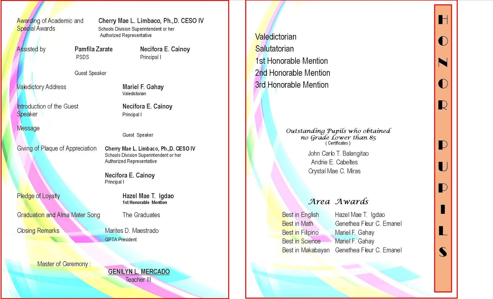 sample graduation program templates