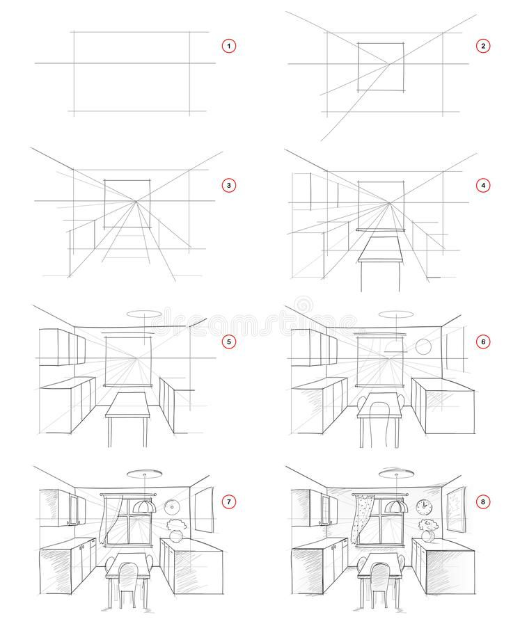 How To Draw From Nature Step By Step Sketch Of Kitchen Interior In Perspective. Creation Pencil Drawing. Stock Vector - Illustration of imaginary, furniture: 164006873