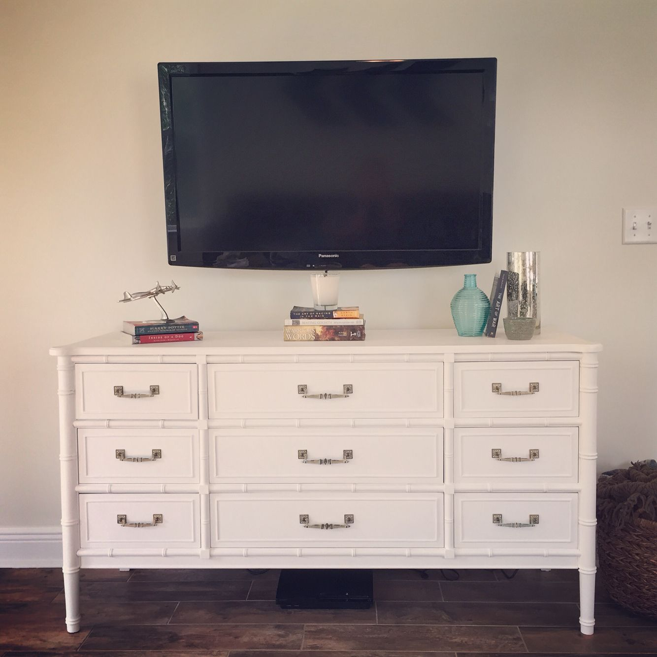 henry link bali hai dresser refurbished with chalk paint as a tv stand